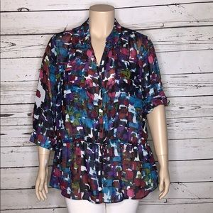 Lane Bryant 22/24 Multi-Color Button Up Blouse